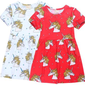 Kids Girls Dress Toddler Short Sleeve Dots Bowknot Summer Dress