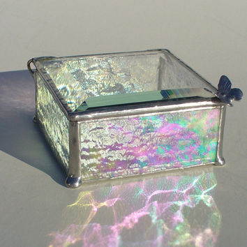 Iridescent Clear Stained Glass Keepsake and Jewelry Box with Butterfly Handle or Your Choice of Handle