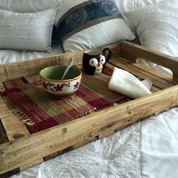 Handmade Large Wooden Serving Tray from Rustic Reclaimed Wood