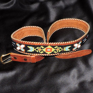 Indian Beaded Belt Arrow Thunderbird Teepee Hatchet Not perfect See pictures Closely No Refund on this Item