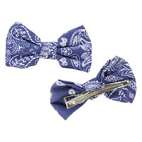 Blue Bandana Hair Bow 2 Pack
