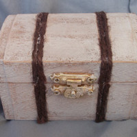 Destination Wedding Vintage Trunk Aged Wood with Jute Ring Bearer Pillow Box