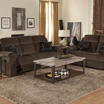 New Classic U4050-30P-20PEBO 2 pc burke collection ebony colored textured fabric upholstered sofa and love seat set with power motion recliners