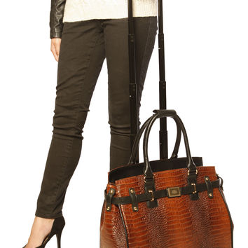 """THE BAYOU"" Brown Alligator Rolling Laptop Tote Carryall or Weekender Bag"