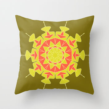 Green orange mandala Throw Pillow by cycreation