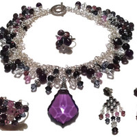 Custom One-of-a-Kind Drag Queen Gemstone and Crystal Jewelry Set // Made-to-Order