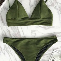 Cupshe Relaxation Exercises Solid Bikini Set