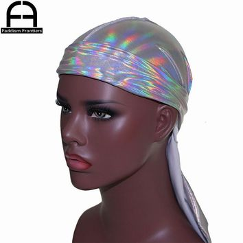 736c030ae9b Men s Sparkly Colorful Durags Turban Bandanas Headwear Silky Ins