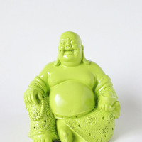 Buddha, Painted Statue, Zen Figurine, Asian Art, Spiritual, Lime Green Home Decor, Laughing Buddha Statue