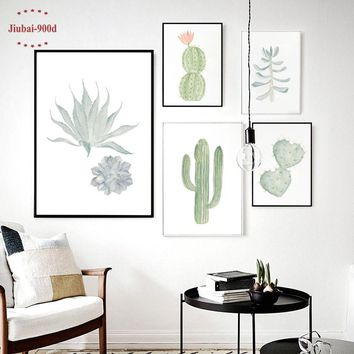 Hot seller!!!!  900D Watercolor, succulent Canvas Cactus Set Wall Pictures