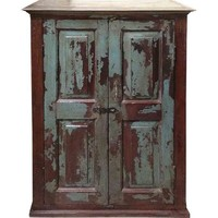 Pre-owned Dark Sea Green Distressed Cabinet