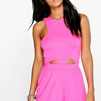 Lois Cut Out Front Jersey Playsuit | Boohoo