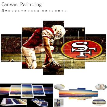 Rugby Modern Home Decor Picture San Francisco 49ers 5 Panel Canvas Painting Calligraphy Sport Team Poster Wall Art Paintings