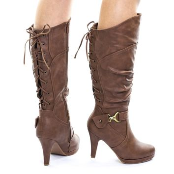 Page65 Tan Mid Calf High Heel Boots w Rear Back Corset Lace Up & Harness