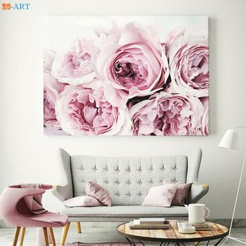 Nordic Style King Protea Peony Roses Print Flower Botanical Large Wall Art Canvas Poster for Living Room Home Decor Framed