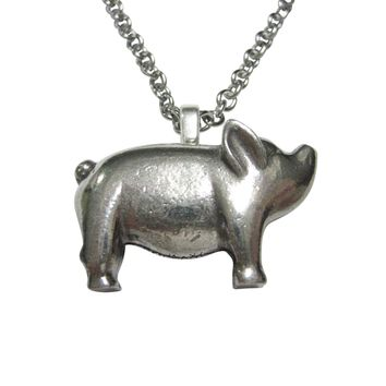 Silver Toned Round Fat Pig Pendant Necklace