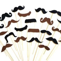 Photo Booth Props - Set of 24 BROWN and BLACK Mustaches on a Stick - Photobooth Props