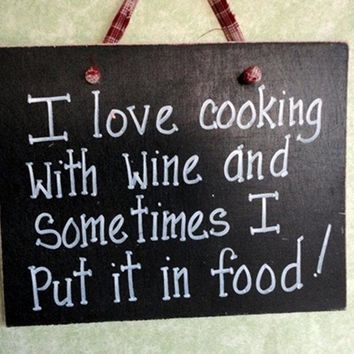 Wood sign, wine lover, cooking and alcohol