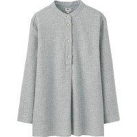WOMEN FLANNEL STAND COLLAR LONG SLEEVE SHIRT | UNIQLO