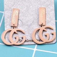 GUCCI Newest Stylish Women Simple GG Letter Pendant Titanium Steel Earrings Accessories Jewelry