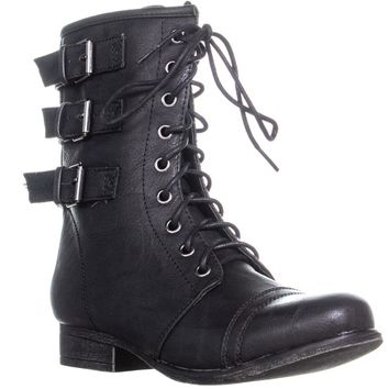 madden girl Ginghamm Triple Bucklet Combat Boots, Black, 7 US