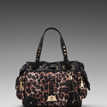 Juicy Couture Quilted/Studded Nylon Daydreamer in Brown Leopard