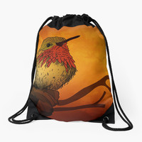 'Sunset Bird' Drawstring Bag by texnotropion