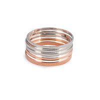 6 Thin Knuckle Rings in rose gold and chrome silver