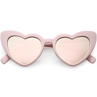 Women's Oversize Cat Eye Heart Shape Mirrored Lens Sunglasses C515