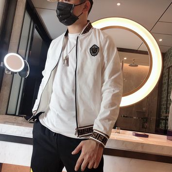 Fendi Fashion Men's Bomber Jacket Casual Embroidery F Logo Printed Tracksuit Outerwear Coat Hip Hop Slim Fit Hooded Jackets