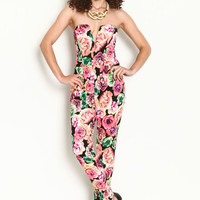 FLORAL PLUNGED JUMPSUIT