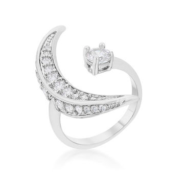 Luna Delicate Moon Wrap Fashion Cocktail Ring | 1.5ct | Cubic Zirconia | Silver