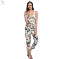 Women Sleeveless Spaghetti Strap Loose Casual Backless Deep V Neck Sexy Prints Jumpsuit Romper 2016 Summer Fashion