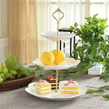 CREYU3C 1 Sets 3 Tier Cake Plate + 3 Tier Cake Plate Stand Handle Crown Fitting Metal