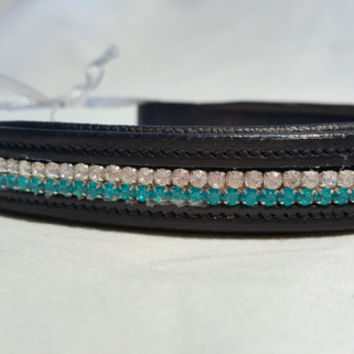 Bling English Straight Full Sized Browband Teal and White