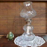 Vintage Clear Glass Oil Lamp – 1985 Lamplight Farms Lamp – Pressed Glass  Hurricane Lamp with Original Globe