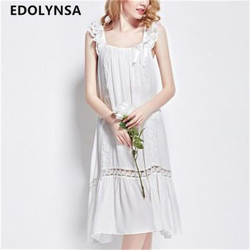 2017 Brand Sleep Lounge Women Sleepwear Cotton Solid White Long Nightgowns Sexy Home Dress Nightdress Plus Size #P43