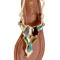 Restricted Kally Gold Gem Embellished Thong Sandals