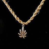 Pot Leaf Silver on Hemp Spiral Necklace 20in Bead Closure