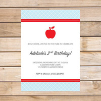 Child's Birthday Party Invitation - 5x7 Printable PDF Digital File OR Custom Printed Hardcopies - Simple Apple Picnic Design