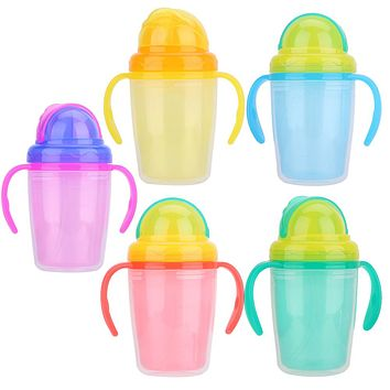 Baby Cup Kids Children Straw Water Bottle Learn Feeding Drinking Handle Silicone Baby Kids Bottles Cup