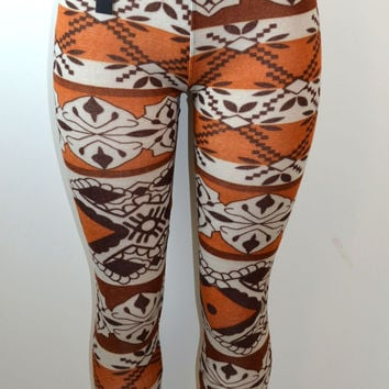 Baslco  Fair Isle Style Print High Waist Leggings,Brown  One Size