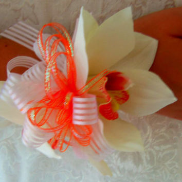 Wrist Corsage Real Touch Orchid  Homecoming Prom Destination Wedding Beach Wedding Bridal Accessory