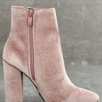 Rooney Blush Velvet High Heel Ankle Booties