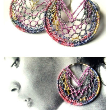 Crocheted 70 mm hoops/Precious sparkling ombre silver/purple shades/pink and denim/Crocheted jewelry/Statement earrings/Fashion jewelry