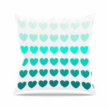 "NL Designs ""Teal Hearts"" Blue love Outdoor Throw Pillow"