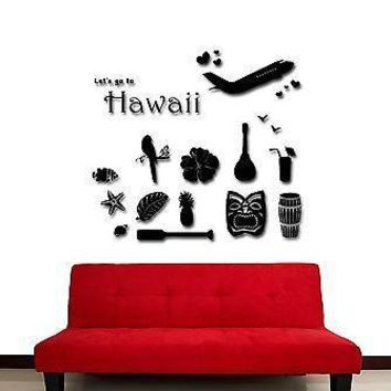 Wall Stickers Vinyl Decal Hawaii Travel Airplane Vacation Ocean Unique Gift (z1756)