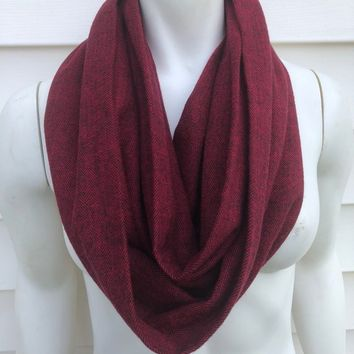 Flannel Infinity Scarf-Women's Handmade Fall Soft Scarf-Accessories Gifts For Her-Maroon Red Scarf-Winter Chunky Scarf