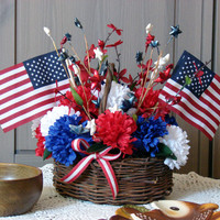 She's a Grand Old Flag - Twig Basket with Two Flags and Red and White Ribbon