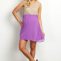 Crochet-Top-Purple-Chiffon-Bottom-Maternity-Tunic/Dress